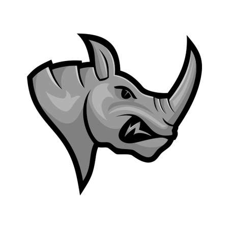 Rhino Head vector mascot Isolated with modern illustration concept style for badge, emblem and t-shirt printing Ilustração