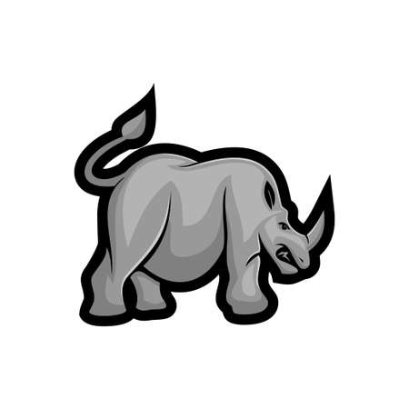 Rhino angry vector mascot Isolated with modern illustration concept style for badge, emblem and t-shirt printing Ilustração