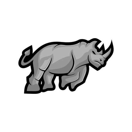 rhino vector mascot Isolated with modern illustration concept style for badge, emblem and t-shirt printing