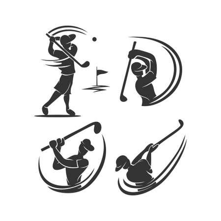 Golf Sport Silhouette Abstract Design Template Set Ilustração