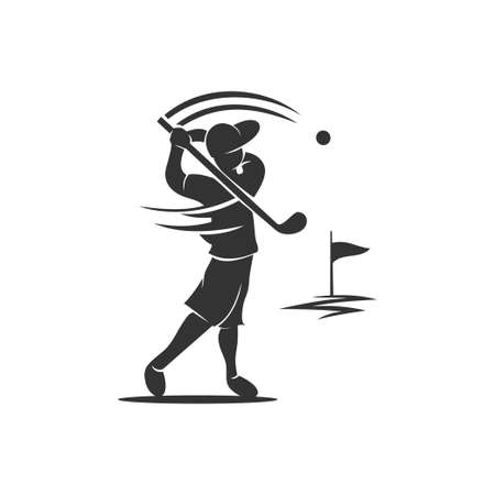 Golf Sport Silhouette Hit Abstract Design Template