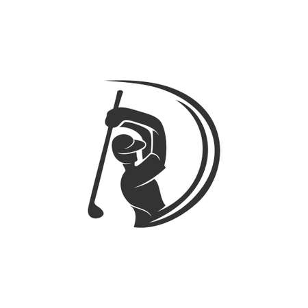 Golf Sport Silhouette Swirl Abstract Design Template