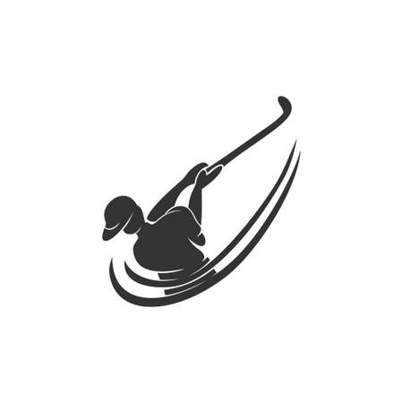 Golf Sport Competition Silhouette Abstract Design Template