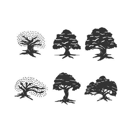 Oak tree illustration Concept Idea Set Sign Ilustração
