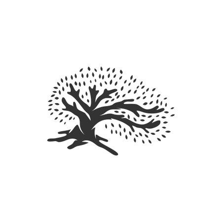 Oak tree illustration Concept Idea Template Sign Isolated