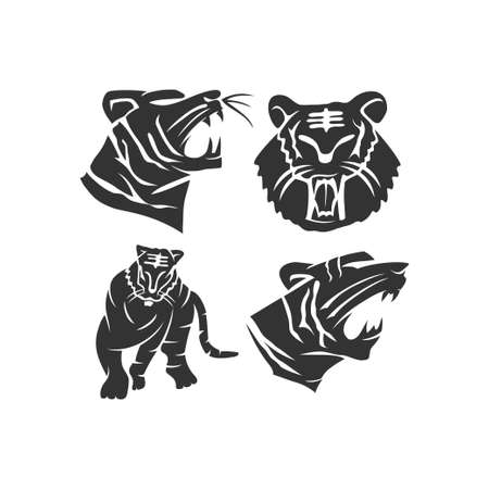Tiger Strong Animal mascot Illustration Template Set