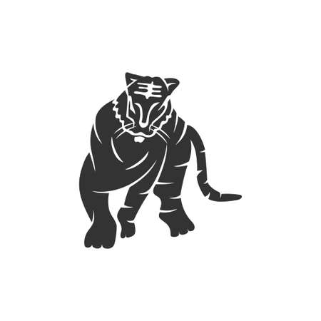 Tiger Body Strong Animal mascot Illustration Template Isolated