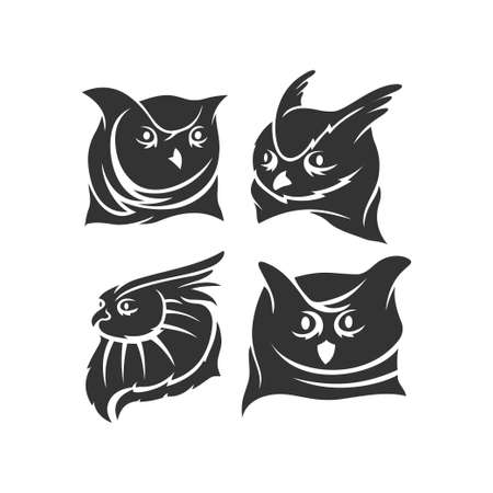 Owl Head mascot illustration Template Set in white background