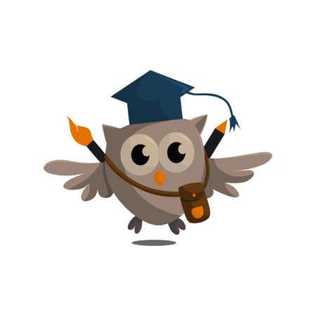 Owl bird template design Smart Education with Owl Symbol Çizim