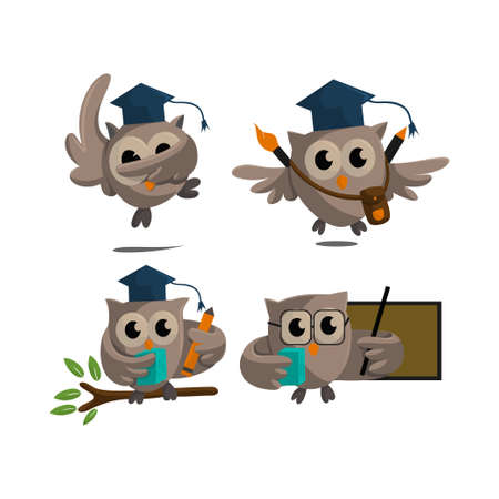 Owl bird template design Smart Education with Owl Symbol  Set 스톡 콘텐츠 - 166860410