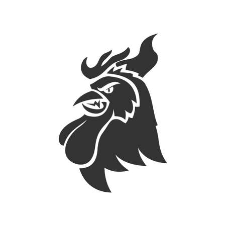 Chicken Rooster Head Mascot Animal Template Silhouette Isolated Çizim