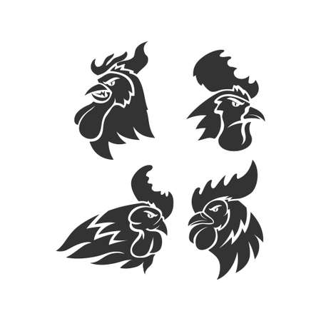 Chicken Rooster Head Mascot Animal Template Silhouette Set Çizim