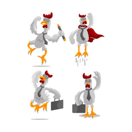 Roster Chicken illustration Businessman Success Template Design