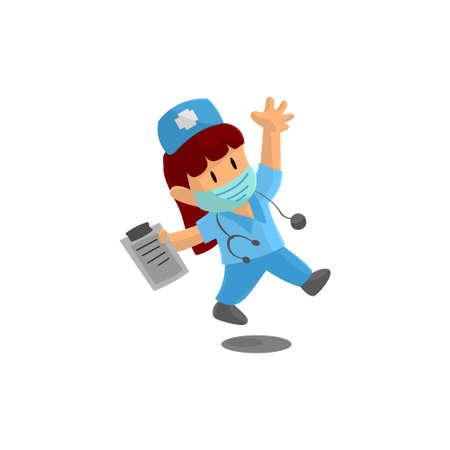 Nurse Jump Character Design Vector illustration for International Nurse Day Ilustração