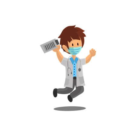 Doctor Jump Character Design Vector illustration for International Doctor Day