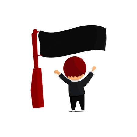 Independence Day illustration. People are shaking the national flag. Cute cartoon character Ilustração