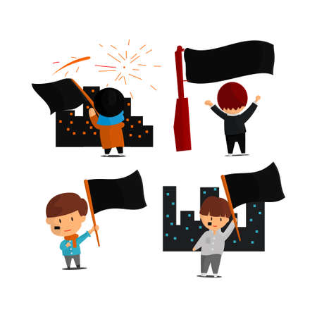 Independence Day illustration. People are shaking the national flag. Cute cartoon character set