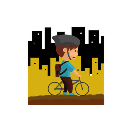 World Bicycle Day in City Character Design Illustration