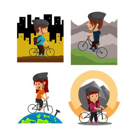World Bicycle Day Character Design Illustration Set Ilustração