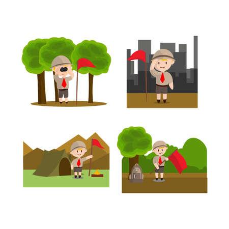 Boy scout character in uniform standing Design Illustration Set Ilustração
