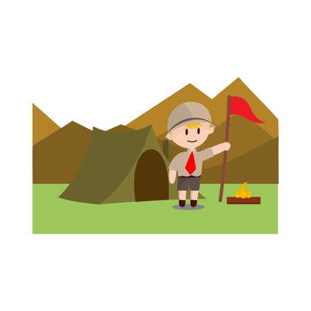 Boy scout character in uniform standing Camp on mountain Design Illustration Ilustração