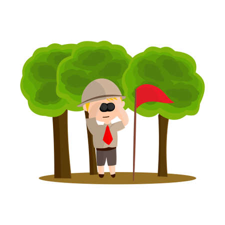 Boy scout character in uniform standing with binocular Design Illustration
