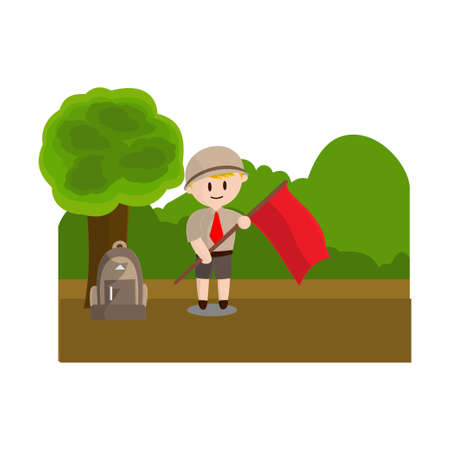 Boy scout character in uniform standing Hold flag Design Illustration Ilustração