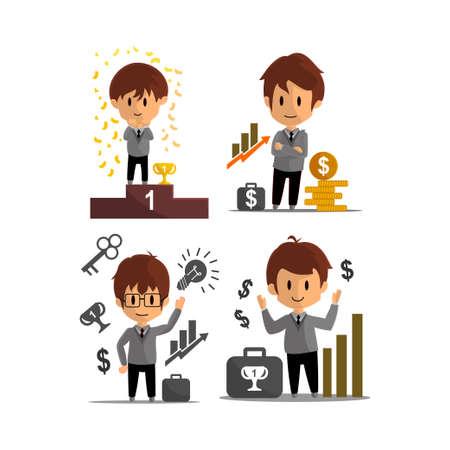 Business Success achievement Illustration Character Design Set Ilustração