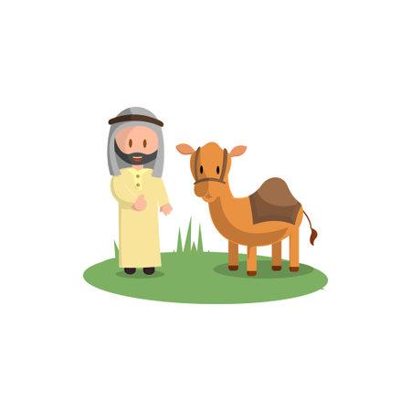 Happy Eid Adha. Celebration of Muslim holiday the sacrifice a camel Ilustração