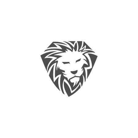 Lion Head Shield illustration emblem mascot design Template Illustration