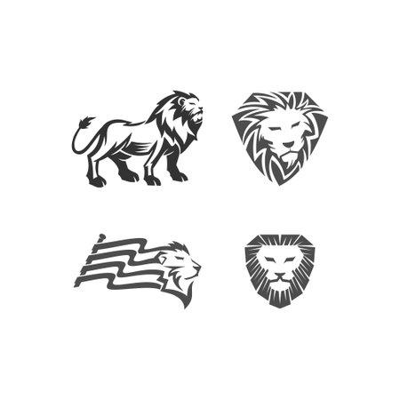 Lion illustration emblem mascot design Template Set