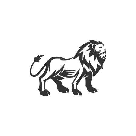 Lion standing illustration emblem mascot design Template