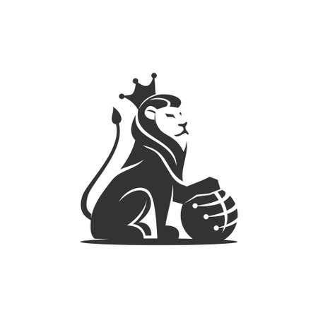 Lion Holding Globe technology illustration emblem mascot design Template Illustration