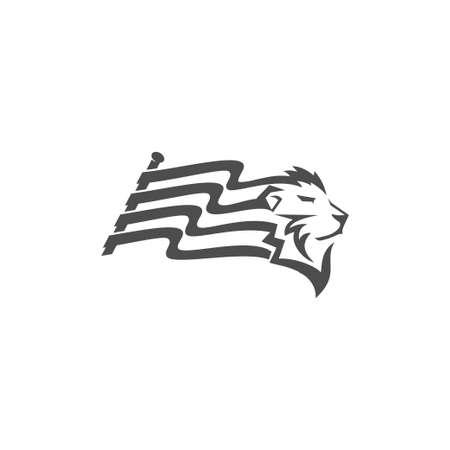 Lion Head Flag illustration emblem mascot design Template Illustration