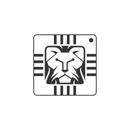 unique lion head and integrated circuit or tech symbol logo design vector icon illustration inspiration