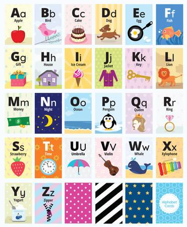 Alphabet Cards template set vector illustration Banque d'images - 111956630