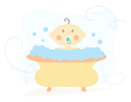 Baby in Bath Tub vector illustration
