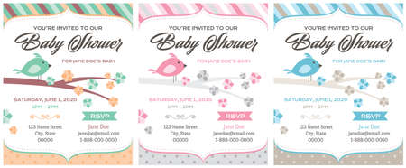 Bird Baby Shower Invitations template set vector illustration