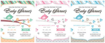 Bird Baby Shower Invitations template set vector illustration