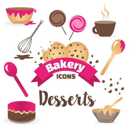 Dessert Bakery Icons template set vector illustration