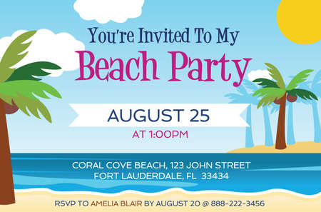 Beach Party Invitation template vector illustration Çizim