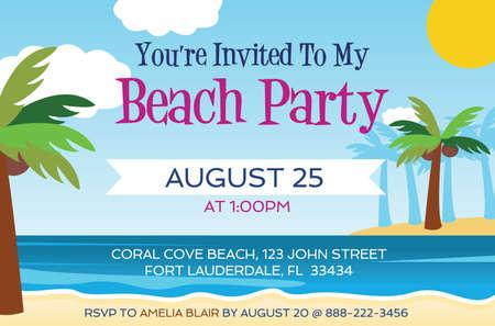 Beach Party Invitation template vector illustration Illustration