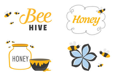 Whimsical Set of Bees and Honey template vector illustration