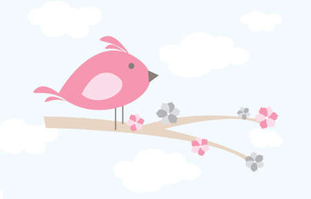 Whimsical cartoon bird on a branch with sky backdrop Çizim