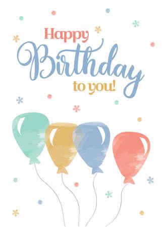 Watercolour Birthday Card template vector illustration Illustration