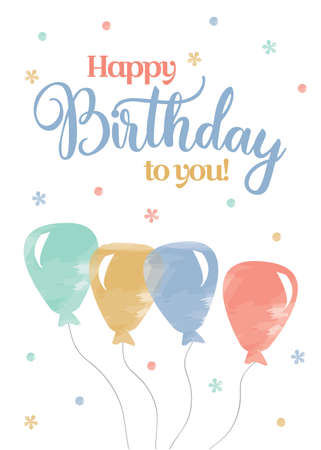 Watercolour Birthday Card template vector illustration Çizim