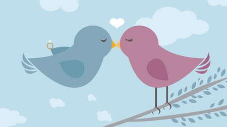 Love Birds Proposal Engagement template card vector illustration