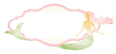 Watercolour Mermaid Frame template vector illustration