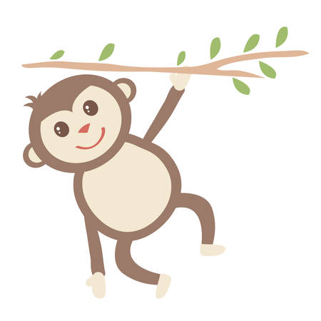 Monkey Hanging from Tree Branch vector illustration Çizim