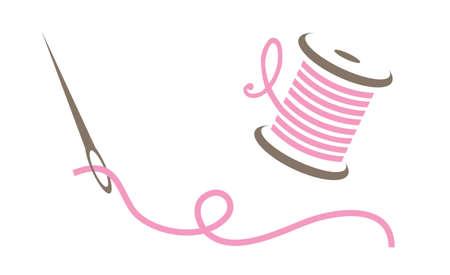 Illustrazione vettoriale di ago e filo rosa Vettoriali
